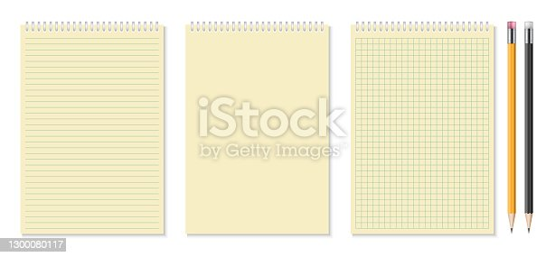 istock Set of realistic notebooks and pencil vector illustration 1300080117