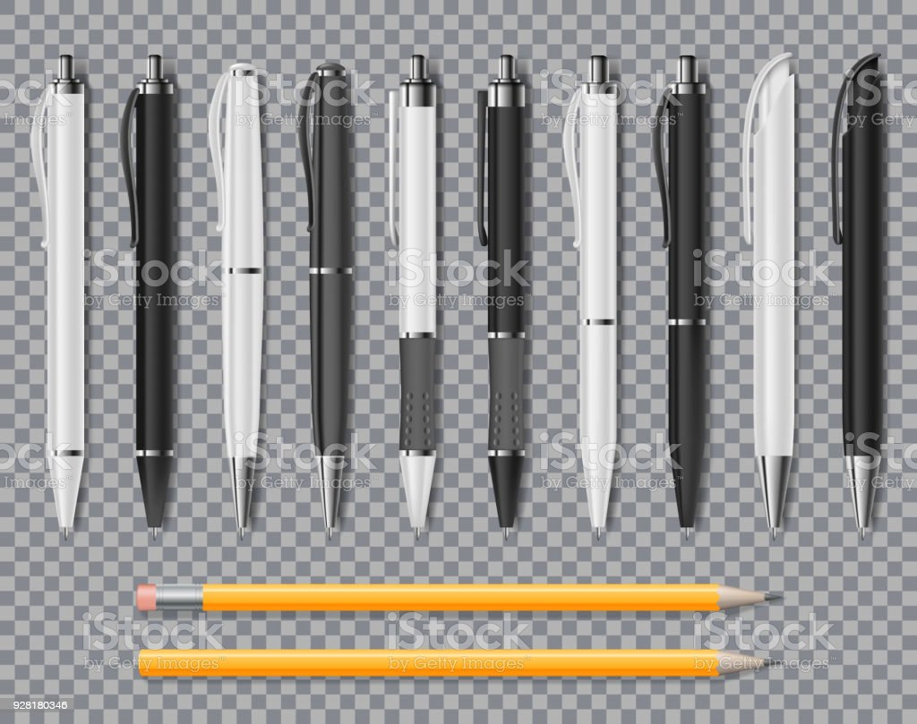 Set of Realistic office Elegant pens and pencil isolated on transparent background. Office Blank white and black Ball Pens. Vector illustration vector art illustration