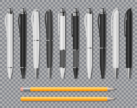 Set Of Realistic Office Elegant Pens And Pencil Isolated On Transparent Background Office Blank White And Black Ball Pens Vector Illustration - Stockowe grafiki wektorowe i więcej obrazów Artykuł biurowy
