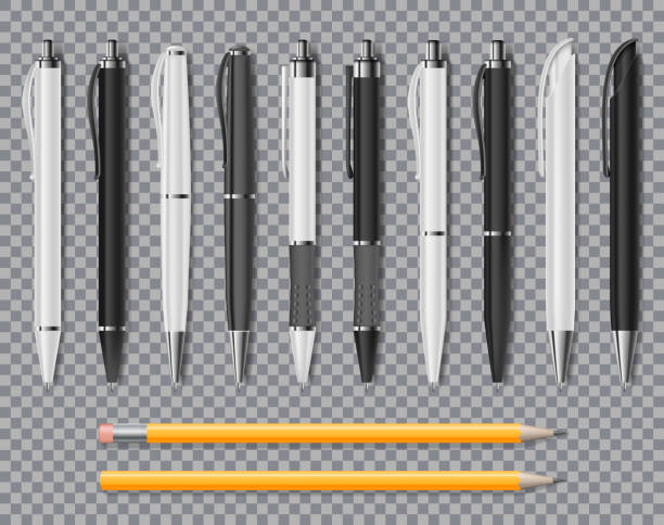 set of realistic office elegant pens and pencil isolated on transparent background. office blank white and black ball pens. vector illustration - pióro przyrząd do pisania stock illustrations