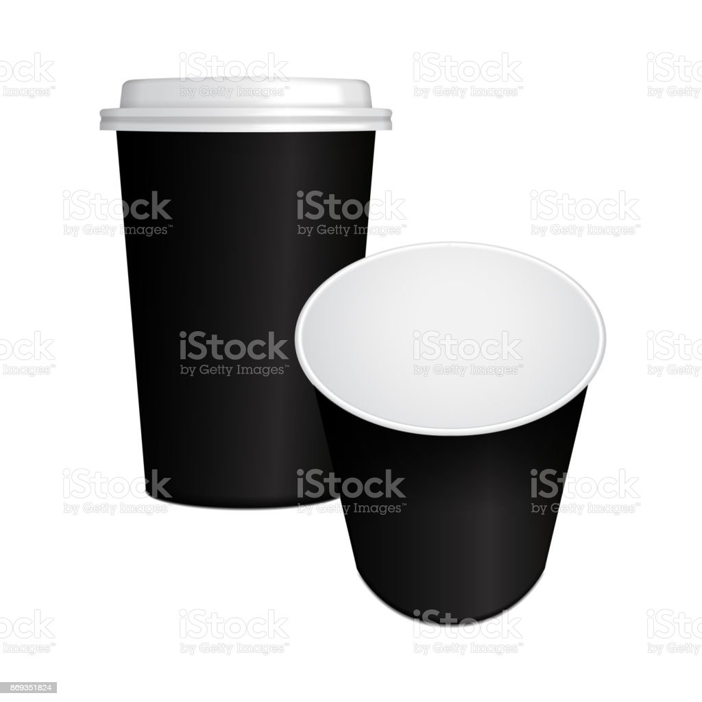 set of realistic paper coffee cup with black cap and opened 3d mock