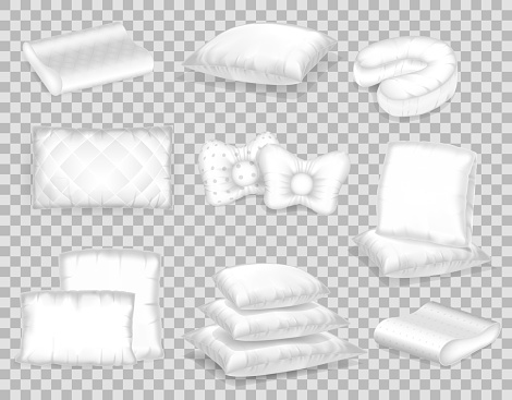 Set of realistic patterns templates of white pillows different shapes