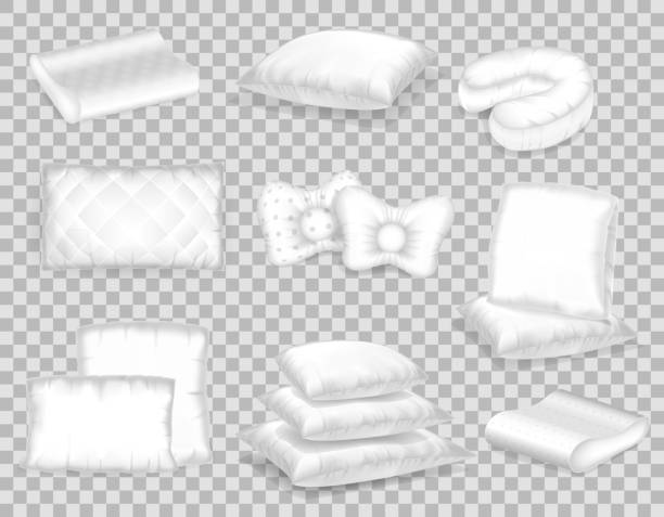 Set of realistic patterns templates of white pillows different shapes vector art illustration