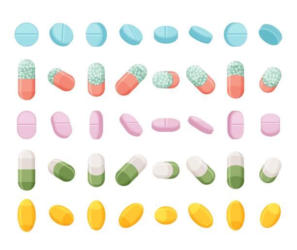 zestaw realistycznych tabletek, tabletek i kapsułek. izometryczne leki płaskie 3d. wizualizacje wektorowe izolowane na białym tle. - kapsułka stock illustrations
