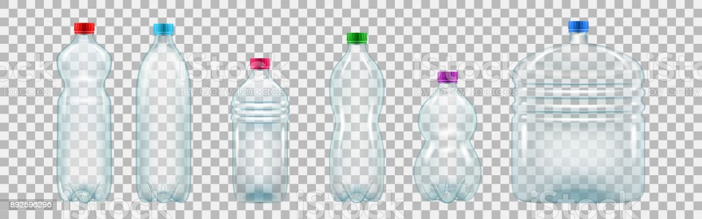 Set of realistic plastic bottles of various shapes and sizes vector art illustration