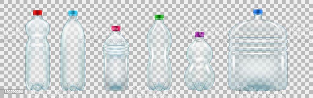 Juego realista de botellas de plástico de varios tamaños y formas - ilustración de arte vectorial