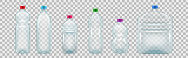 Set of realistic plastic bottles of various shapes and sizes Set of realistic plastic bottles of various shapes and sizes. Empty bottles of mineral water and other drinks. Vector illustration isolated on transparent background. bottle stock illustrations