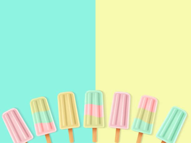 stockillustraties, clipart, cartoons en iconen met set van realistische popsicle - ijslollie bevroren zoetigheid