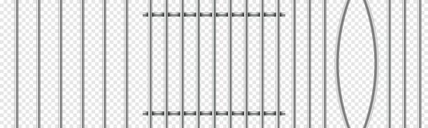 Set of realistic prison metal bars isolated on transparent background. Iron jail cage. Prison fence jail. Template design for criminal or sentence. Vector illustration bending stock illustrations