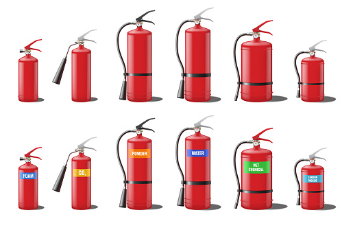 Set of realistic red extinguishers isolated on white background: different types of handle extinguishers, water, carbon dioxide, foam, powder and wet chemicals. 3d vector illustration
