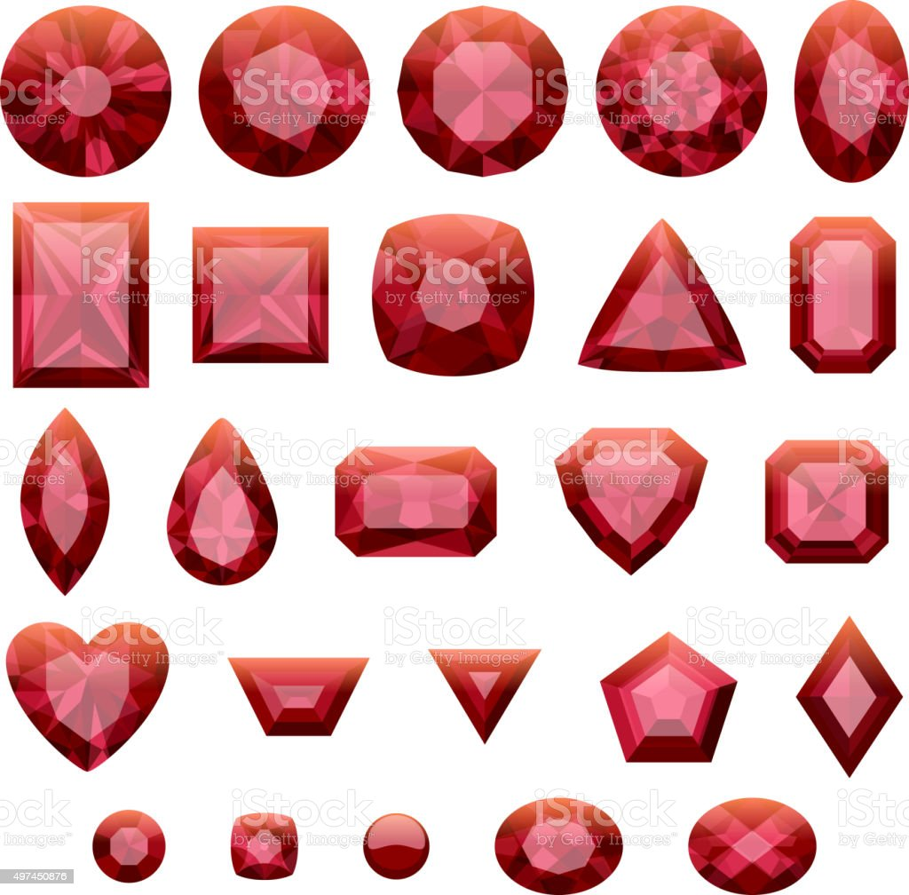 Set of realistic red jewels. Rubies isolated vector art illustration