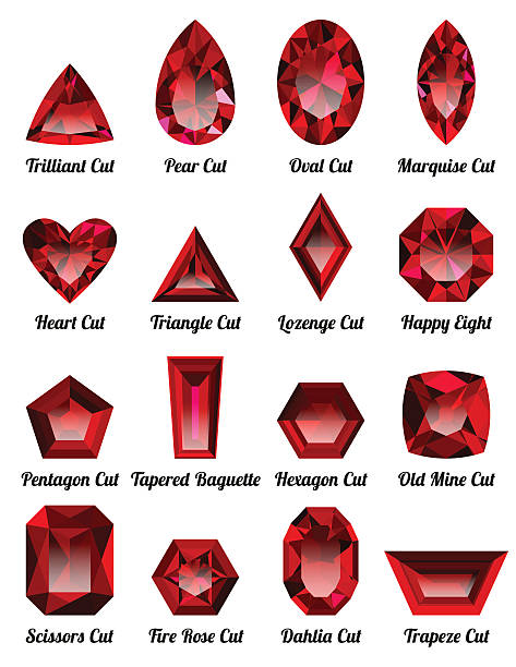 set of realistic red rubies with complex cuts - granatschmuck stock-grafiken, -clipart, -cartoons und -symbole