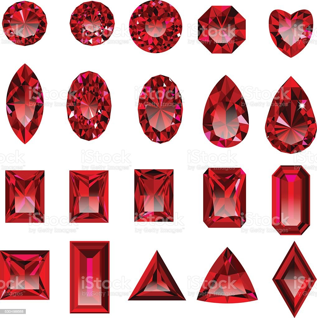 Set of realistic red rubies with different cuts.