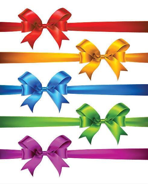 bildbanksillustrationer, clip art samt tecknat material och ikoner med set of realistic satin ribbons and bows. - blue yellow band