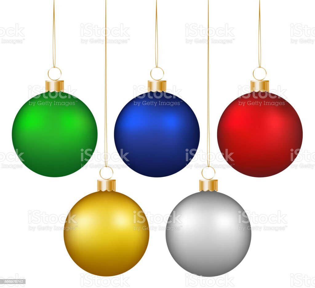 Set of realistic shiny colorful hanging christmas baubles isolated on white background vector art illustration