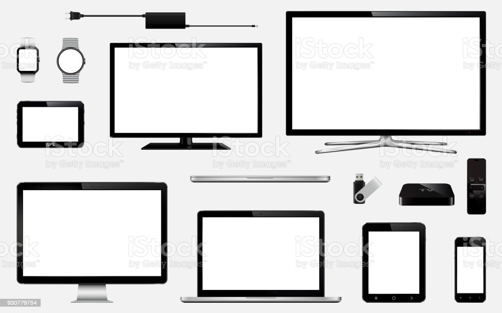 Set of realistic smart tv, computer monitors, laptops, tablet, mobile phone, smart watch, usb flash drive, gps navigation system device and tv box receiver with remote controller vector art illustration