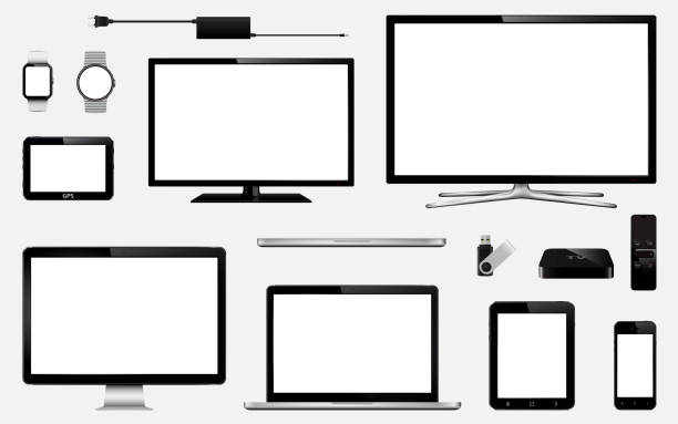 set of realistic smart tv, computer monitors, laptops, tablet, mobile phone, smart watch, usb flash drive, gps navigation system device and tv box receiver with remote controller - monitor komputerowy stock illustrations