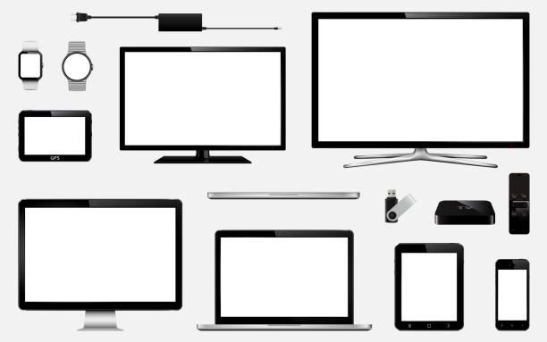reihe von realistisch smart-tv, computer-monitore, laptops, tablet, handy, smart-watch, usb-flash-laufwerk, gps navigation system gerät und tv box receiver mit fernbedienung - bildschirme stock-grafiken, -clipart, -cartoons und -symbole