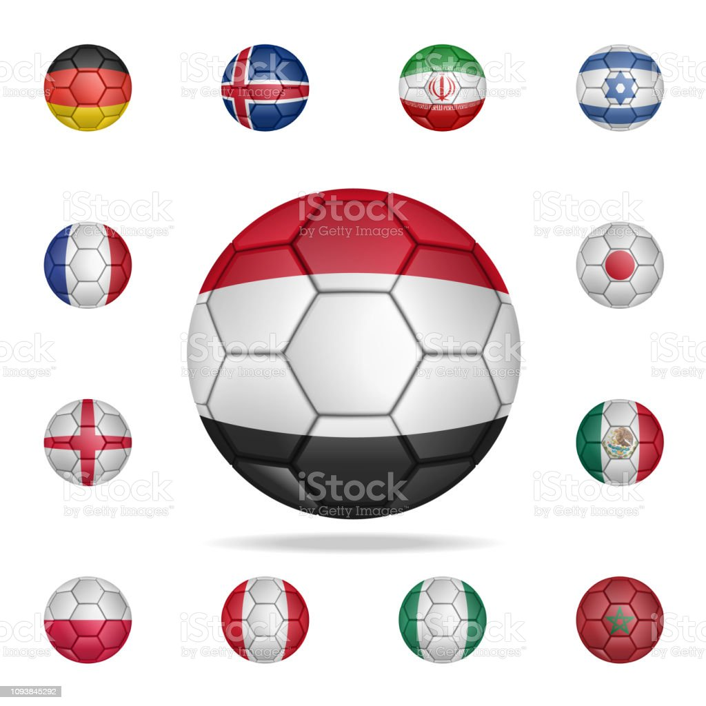 6b9f8be3b Set of realistic soccer ball painted in the national flag of Egypt for  mobile concept and
