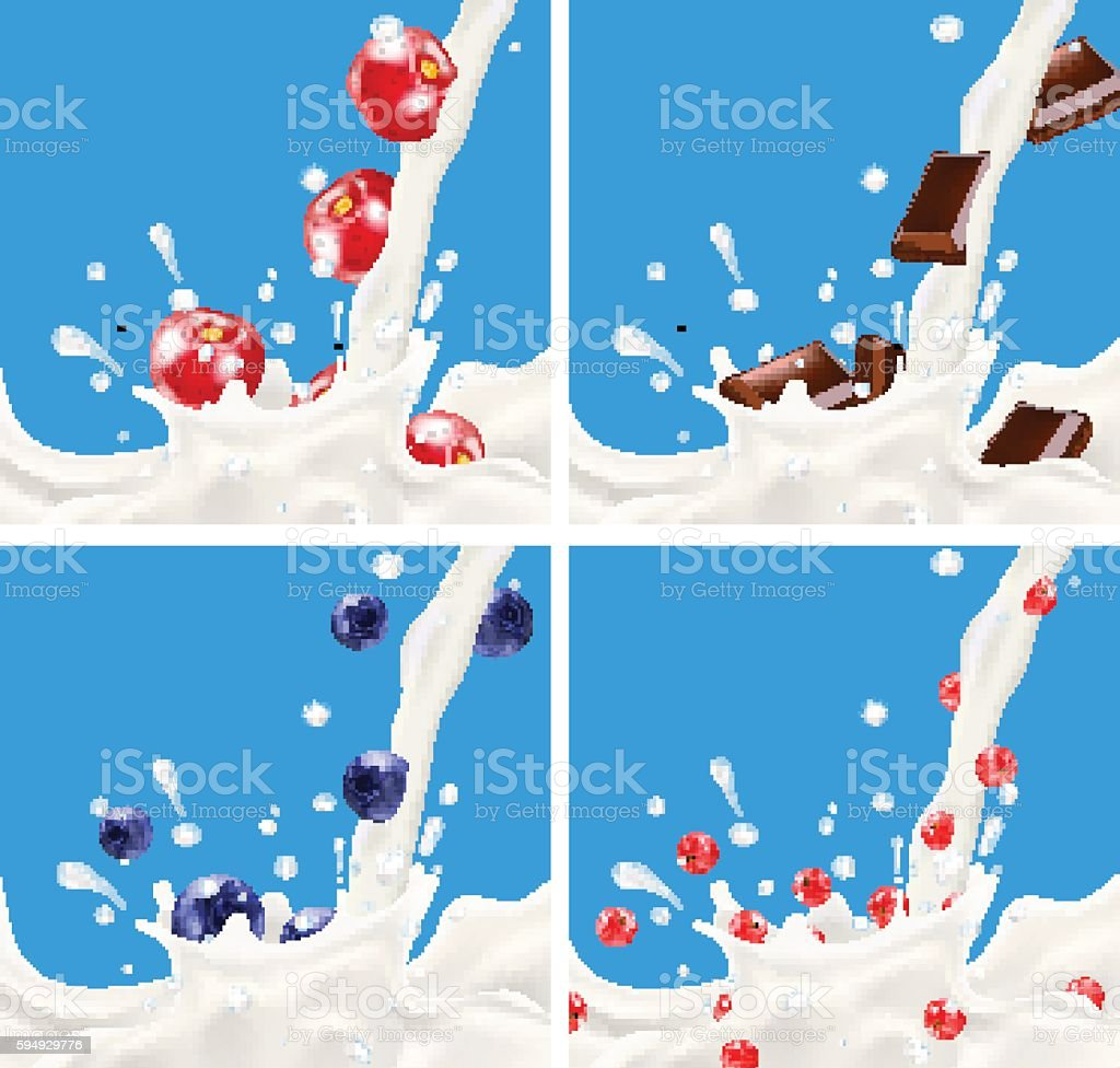 Set of realistic splashing milk vector art illustration