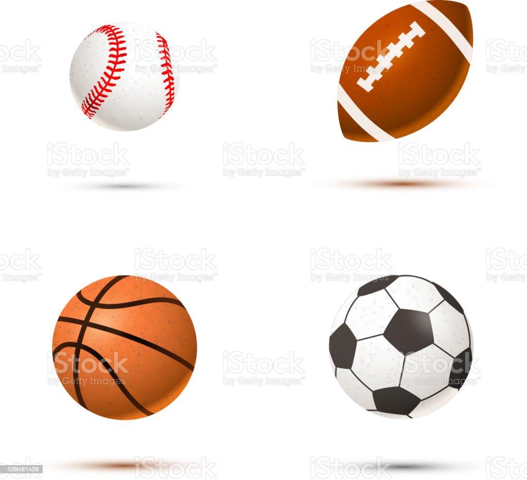 Realista Conjunto de pelotas de deportes - ilustración de arte vectorial