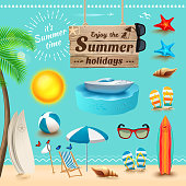 Set of realistic summer icons. Vector illustration