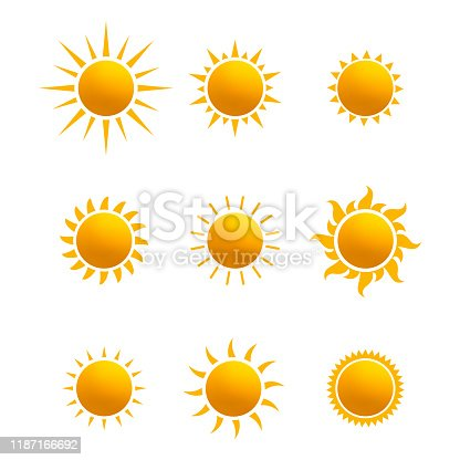 istock Set of realistic sun icon for weather design. Sun pictogram, flat icon. Trendy summer symbol for website design, web button, mobile app. Template vector illustration. Isolated on white background. 1187166692