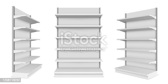 Set of realistic supermarket showcase with shelves. Vector mockup of market or mall counter for retail. Shop product display or store stall. Indoor or interior product placement concept.Shelf and rack
