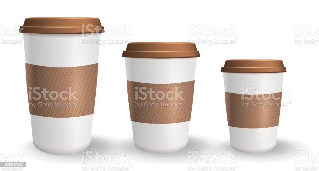 Festlegen Der Realistischen Imbiss Und Kaffee Becher In ...
