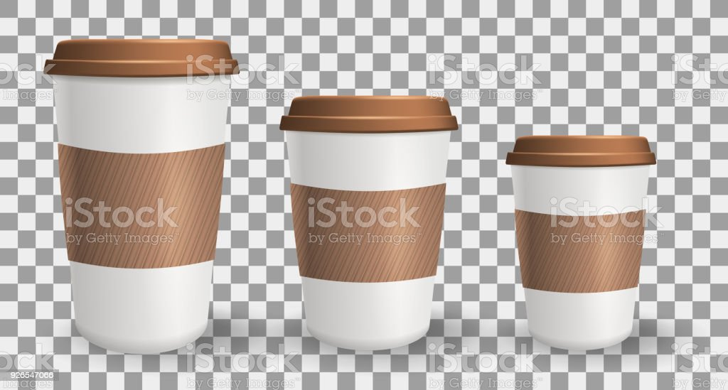 Reihe Von Realistisch Zu Gehen Und Kaffee Zum Mitnehmen Papier ...