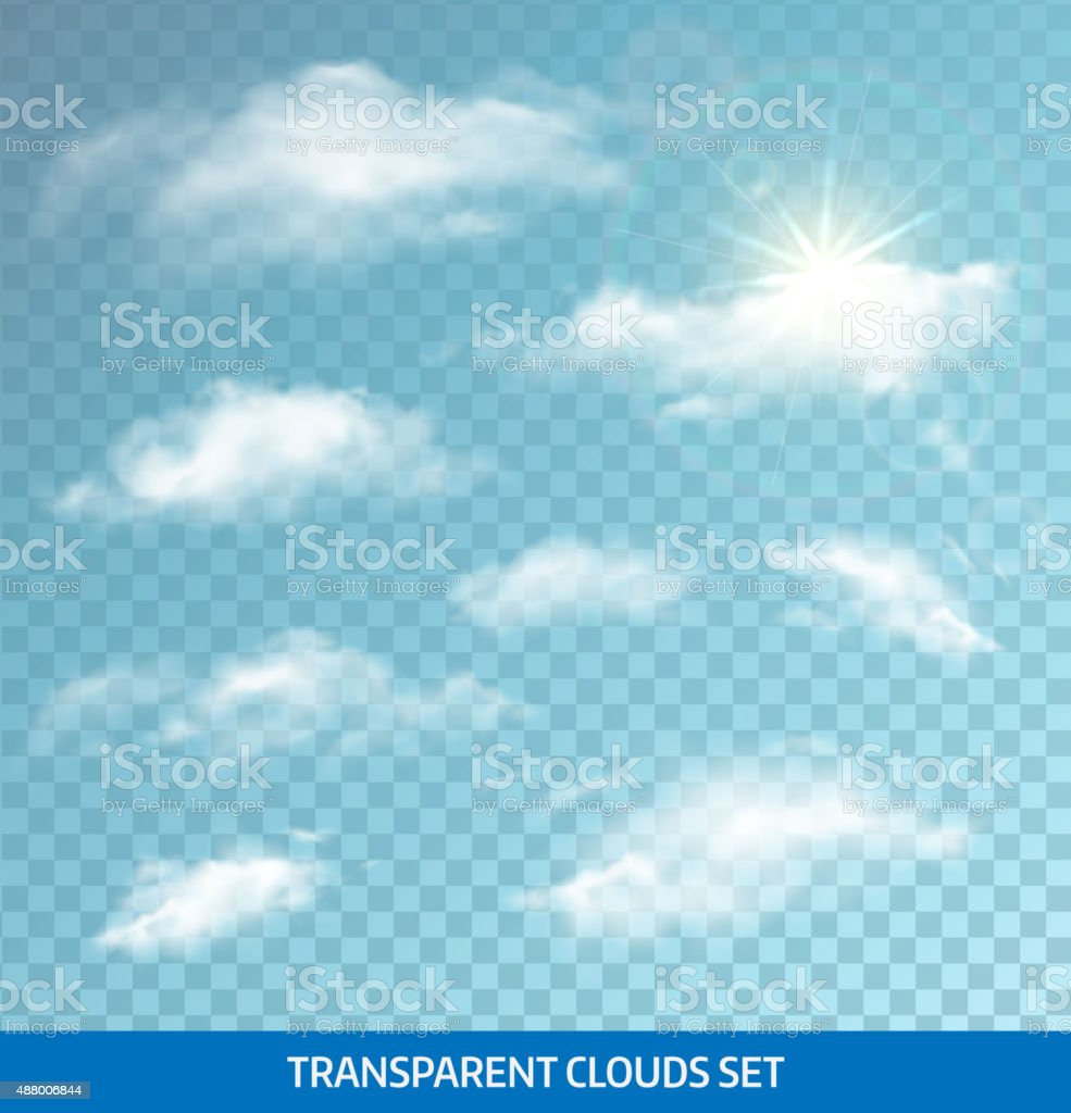 Set of realistic transparent clouds. Vector illustration vector art illustration