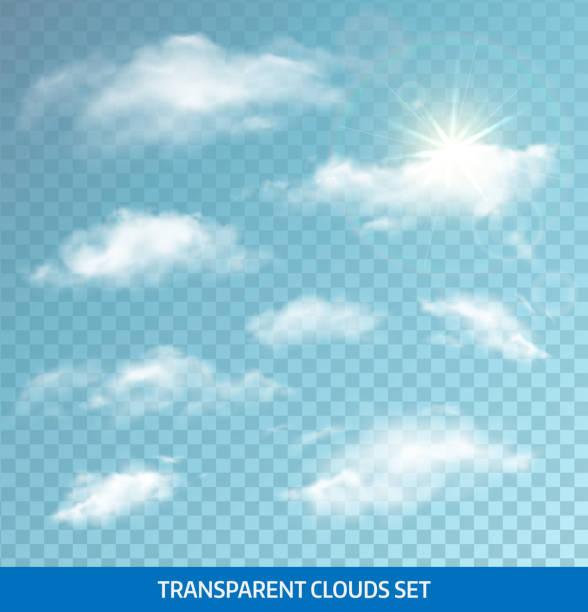 Satz von transparenten realistische Wolken. Vektor-illustration – Vektorgrafik
