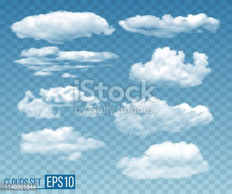 Collection of realistic transparent clouds. Vector illustration EPS10