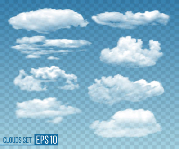 set of realistic transparent cloudsin blue sky - clouds stock illustrations
