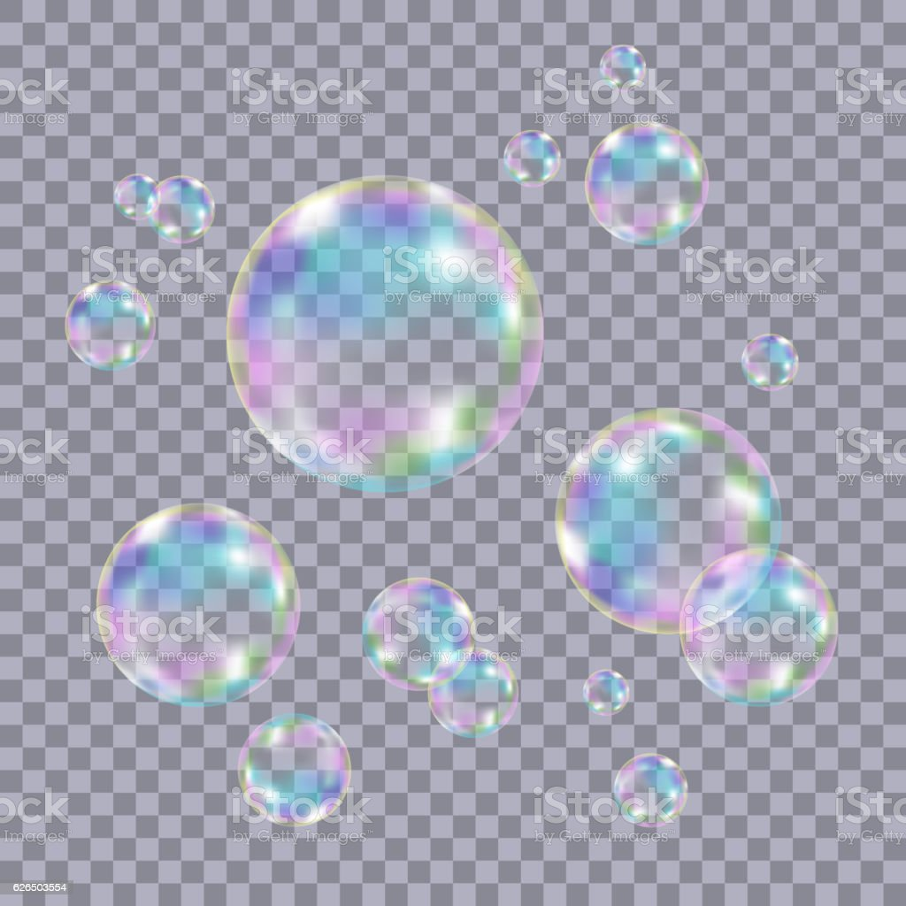 Set of realistic transparent colorful soap  bubbles. vector art illustration