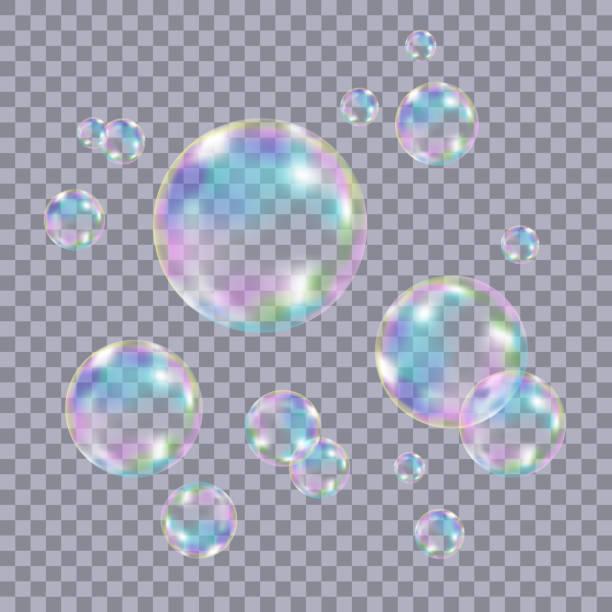 Set of realistic transparent colorful soap  bubbles. - ilustração de arte em vetor