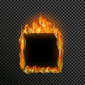 Realistic transparent fire flame frame with text space on a black white background. Special light effects. Translucent bonfire elements. Gradient mesh vector illustration for your design and business