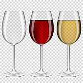 Set of realistic transparent wine glasses empty, with red and white wine, isolated\non transparent background.