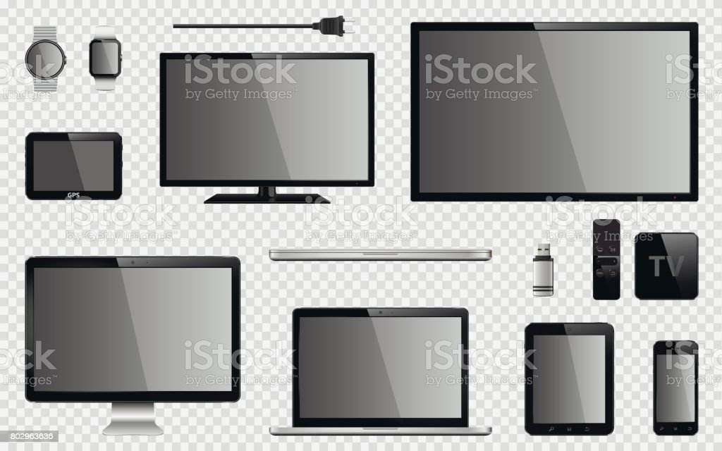 Set of realistic TV, computer monitor, laptops, tablet, mobile phone, smart watch, usb flash drive, GPS navigation system device, TV box receiver with remote controller and electric plug vector art illustration