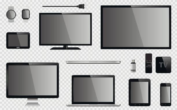 リアルなテレビ、コンピューター モニター、ノート パソコン、タブレット、携帯電話、スマートな時計、usb フラッシュ ドライブ、gps ナビゲーション システム デバイス、リモート コント ローラーと電気プラグとテレビ ボックス受信機のセット - pc 画面点のイラスト素材/クリップアート素材/マンガ素材/アイコン素材