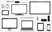 リアルなテレビ、コンピューター モニター、ノート パソコン、タブレット、携帯電話、スマートな時計、usb フラッシュ ドライブ、GPS ナビゲーション システム デバイス、リモート コント ローラーと電気プラグとテレビ ボックス受信機のセット