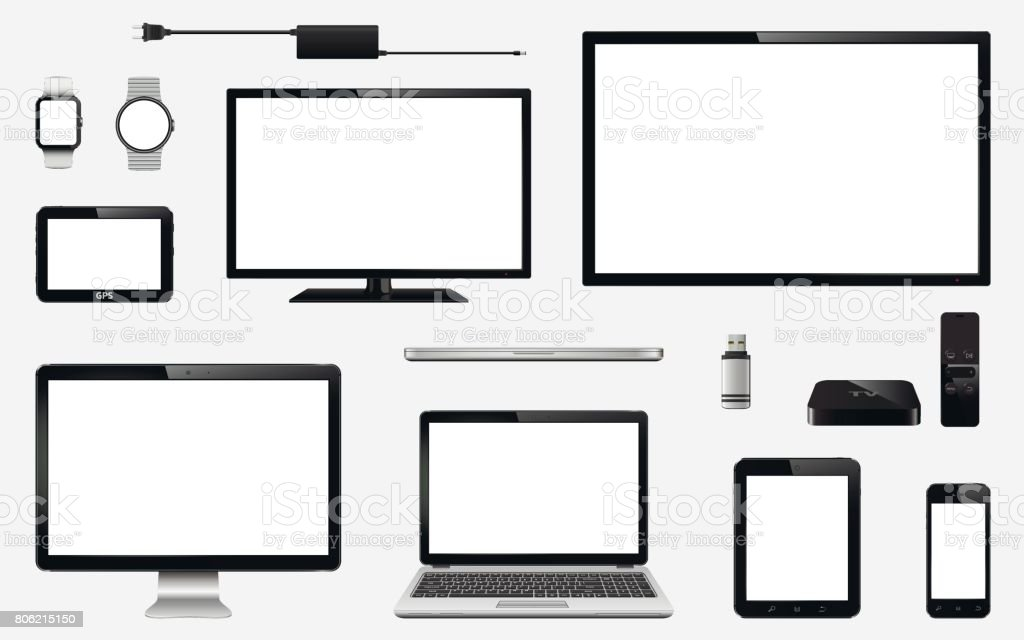 Set of realistic TV, computer monitor, laptops, tablet, mobile phone, smart watch, usb flash drive, GPS navigation system device, TV box receiver with remote controller and electric plug - illustrazione arte vettoriale