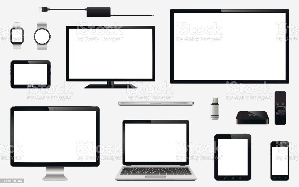 Conjunto de TV realista, monitor de la computadora, portátiles, tablet, teléfono móvil, reloj inteligente, impulsión del flash del usb, dispositivo de sistema de navegación GPS, receptor de la caja de TV con control remoto y enchufe eléctrico - ilustración de arte vectorial