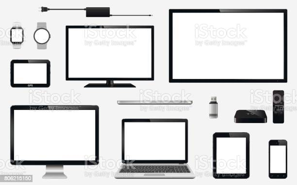 Set of realistic TV, computer monitor, laptops, tablet, mobile phone, smart watch, usb flash drive, TV box receiver, GPS navigation system device and electric plug. Isolated on transparent background. Vector eps10