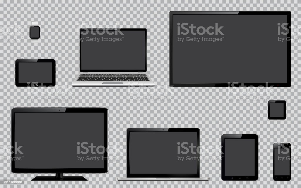 Satz von realistische TV, Computer-Monitor, Notebooks, Tablet, Handy, smart Watch und System GPS-Navigationsgerät mit leeren leeren Bildschirm – Vektorgrafik