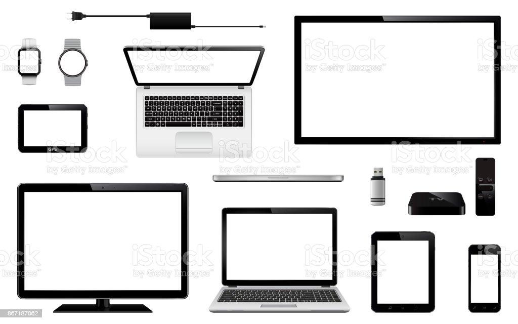 Satz von realistische TV, Computer-Monitor, Laptops, Tablet, Handy, smart-Watch, USB-Flash-Laufwerk, System GPS-Navigationsgerät, TV-Box-Receiver mit Fernbedienung und Ladegerät-adapter – Vektorgrafik