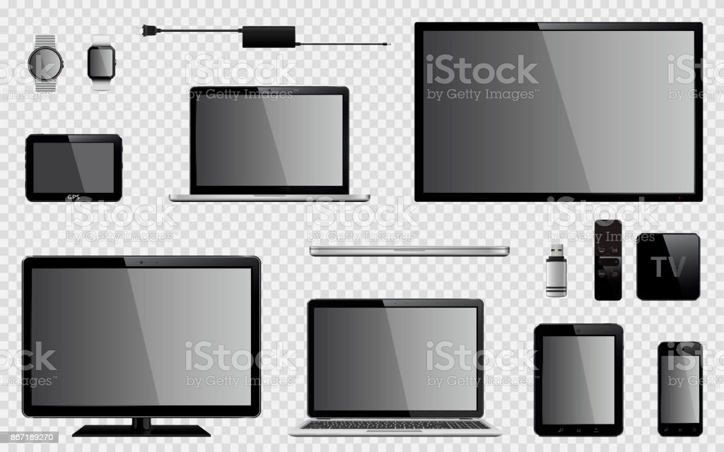 Set of realistic TV, computer monitor, laptops, tablet, mobile phone, smart watch, usb flash drive, GPS navigation system device, TV box receiver with remote controller and charger power adapter vector art illustration