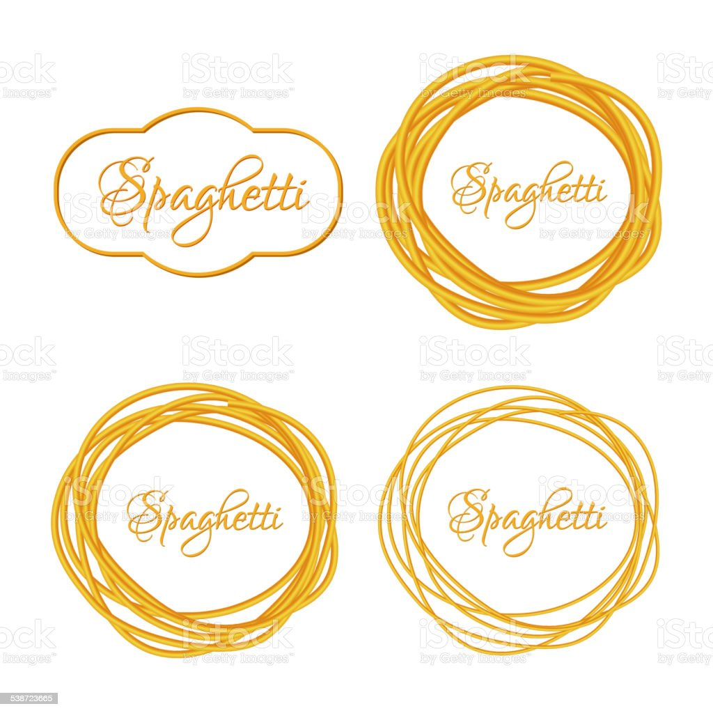 Set of Realistic Twisted Spaghetti Pasta Circle Frame  logo emblem vector art illustration