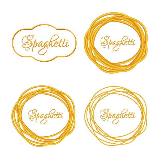 satz von realistische gedrehte spaghetti nudeln kreis frame logo-emblem - spaghetti stock-grafiken, -clipart, -cartoons und -symbole