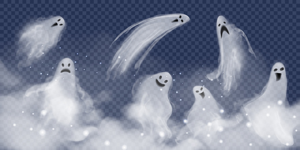 Set of realistic vector ghosts in fog. 3d smokes looking like night ghouls in mystic glittered smoke. Halloween illustration of scary poltergeist or phantom